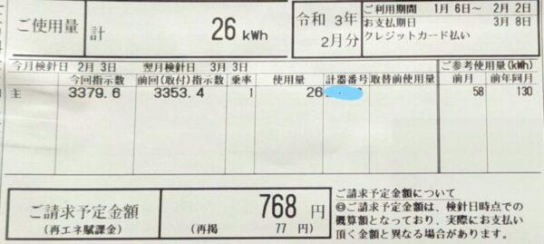 2月電気代768円