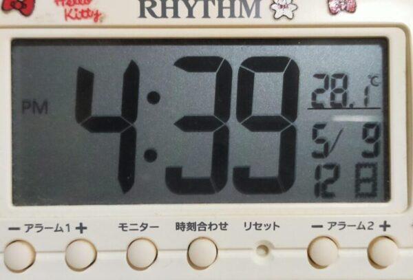 4:39エアコン使用3時間、室内温度28.1℃