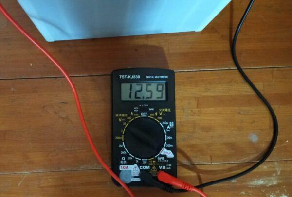 洗濯機脱水前の電圧12.59V