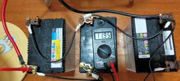 蓄電池と正弦波インバーターを使った実験!扇風機と液晶TV55型を同時に使用中11.95V