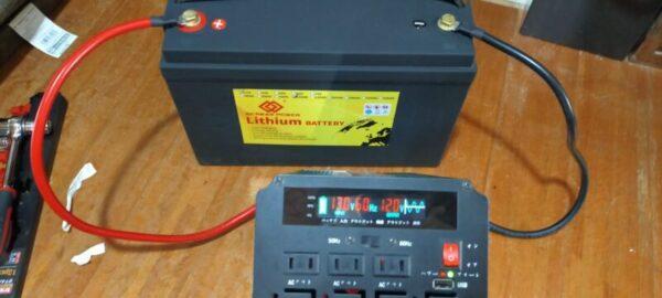 寿命かな?リン酸鉄リチウムイオンバッテリーと正弦波インバーターを接続して家電を動かしてみる