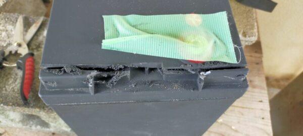 バッテリー容器4側面の切断が終わる